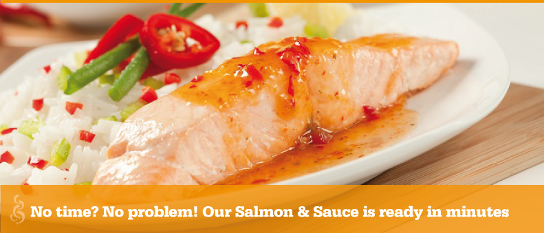 No time? No problem! Our Salmon & Sauce is ready in minutes